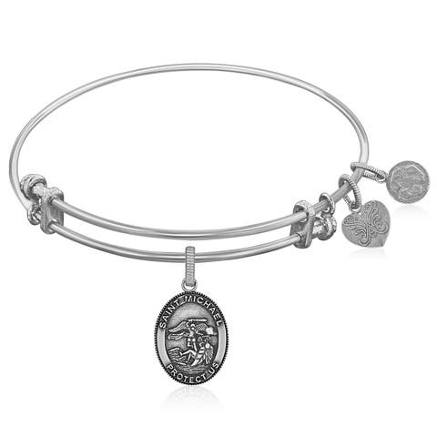 Expandable White Tone Brass Bangle with St. Michael Symbol