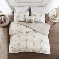 Madison Park Edna Grey/ Ivory Embroidered Cotton Reversible Duvet Cover Set