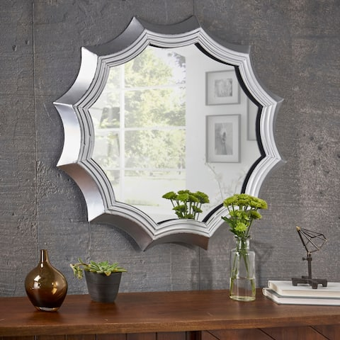 Ferraro Industrial Round Metal Sun Mirror with Tempered Glass by Christopher Knight Home - N/A