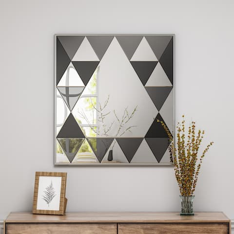 Idalla Modern Diamond Pattern Glam Square Mirror by Christopher Knight Home - Mirror, Gray Mirror, Black Mirror