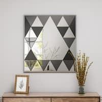 Idalla Modern Diamond Pattern Glam Square Mirror by Christopher Knight Home - Mirror, Gray Mirror, Black Mirror - N/A