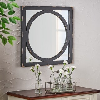 Mears Farmhouse Square Wooden Rustic Mirror by Christopher Knight Home