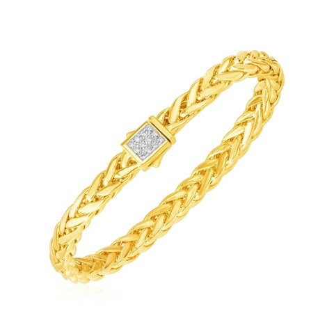 Polished Woven Rope Bracelet with Diamond Accented Clasp in 14k Yellow Gold
