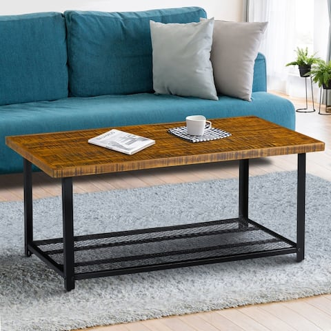 Carbon Loft Enjolras Wood/ Steel Coffee Table with Storage Shelf