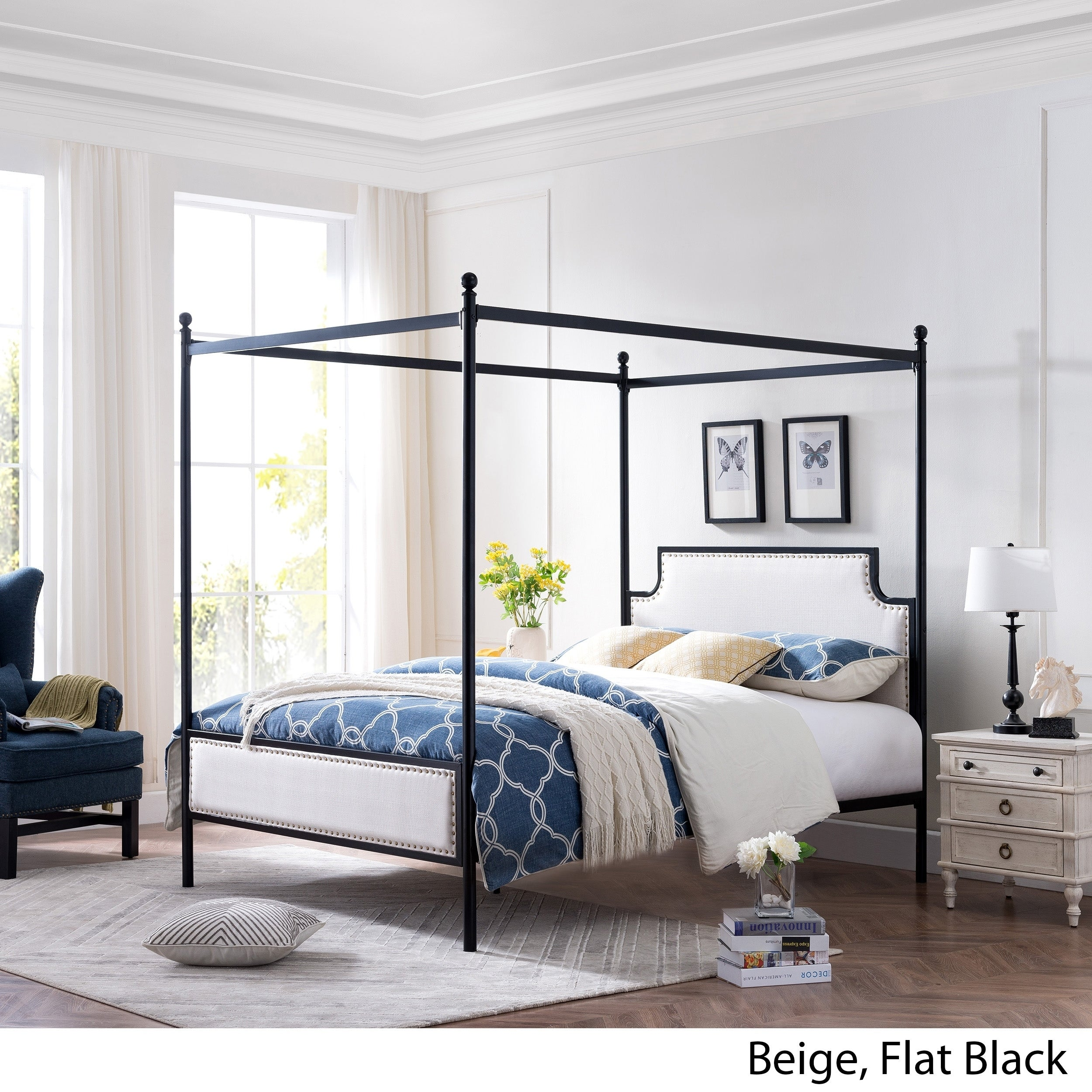 Shop Beechmont Queen Size Canopy Bed Frame With Upholstered