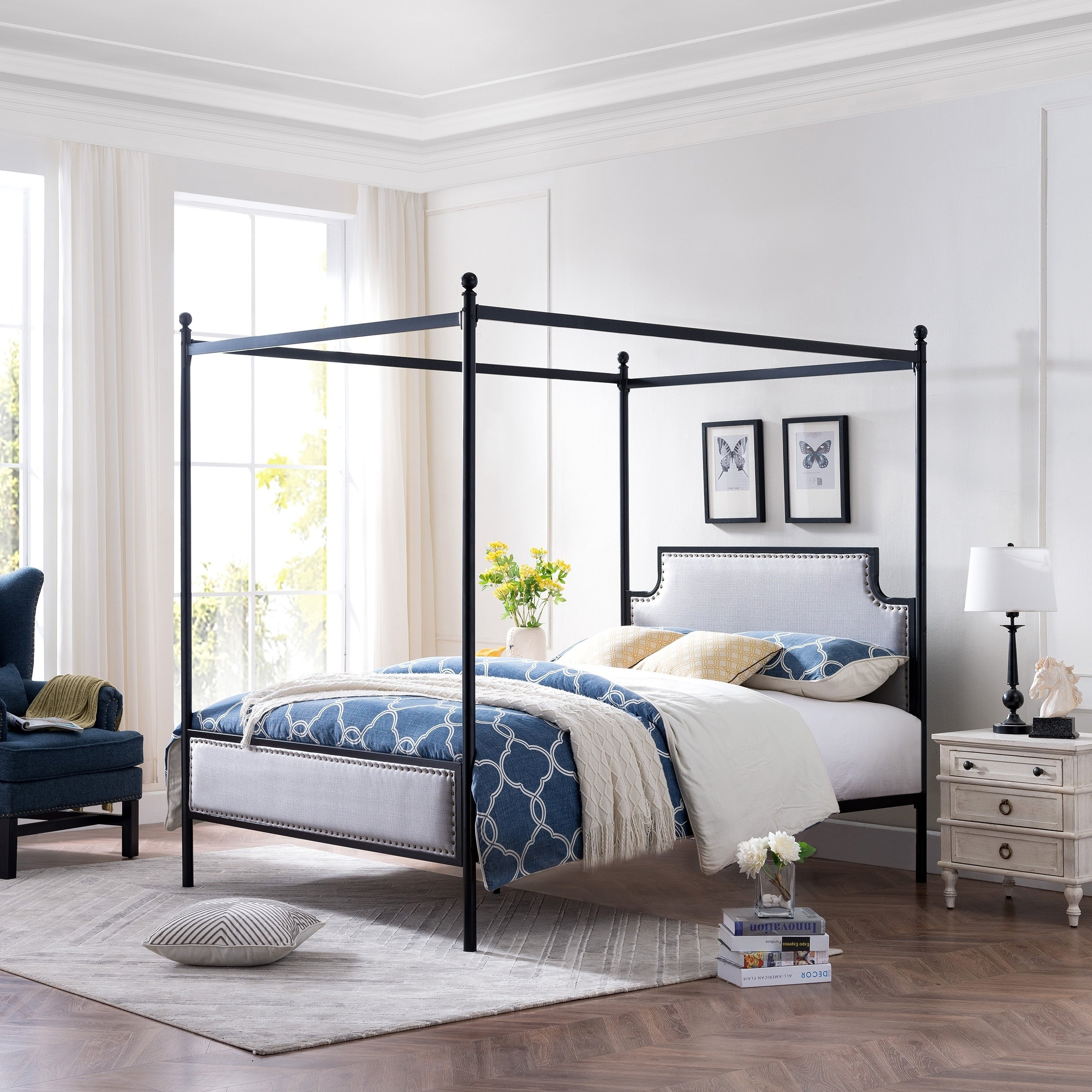Beechmont Queen Size Canopy Bed Frame With Upholstered Studded Headboard By Christopher Knight Home On Sale Overstock 27414185