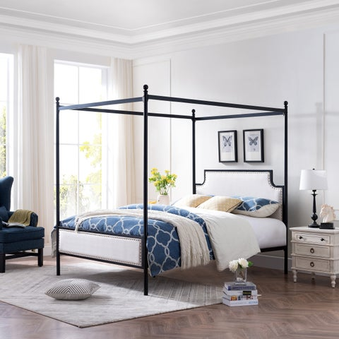 Christopher Knight Home Beechmont Queen Size Iron Canopy Bed Frame With Upholstered Studded Headboard