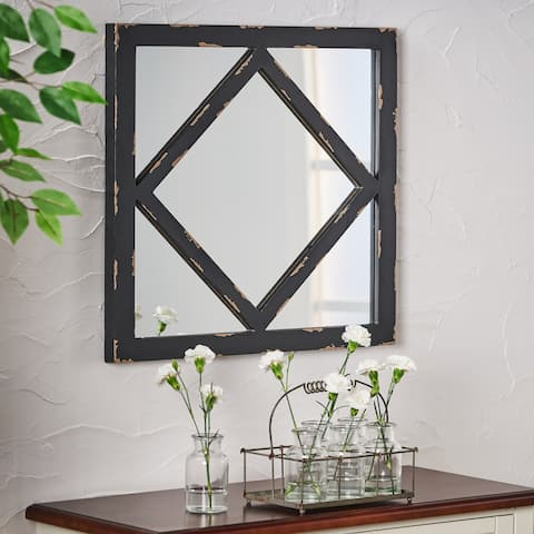 Champney Farmhouse Square Wooden Rustic Mirror by Christopher Knight Home - N/A