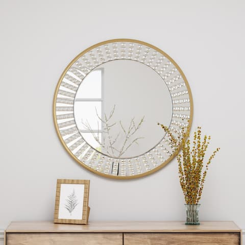 Harwich Round Mirror with Acrylic Crystal Tiled Accents by Christopher Knight Home - Mirror, Gold