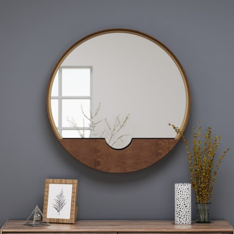 Governors Round Minimalistic Metal Mirror with Storage by Christopher Knight Home - N/A