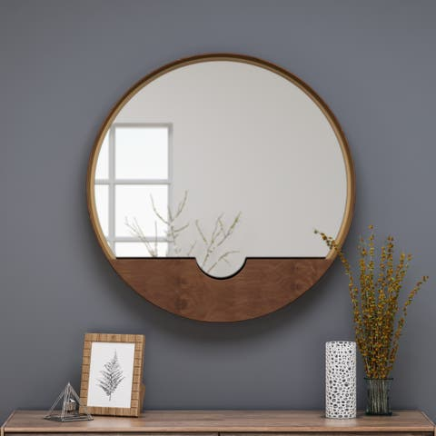 Governors Round Minimalistic Metal Mirror with Storage by Christopher Knight Home