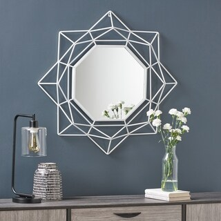 Blossom Industrial Metal Glam Wall Mirror with Circular Starburst Design by Christopher Knight Home