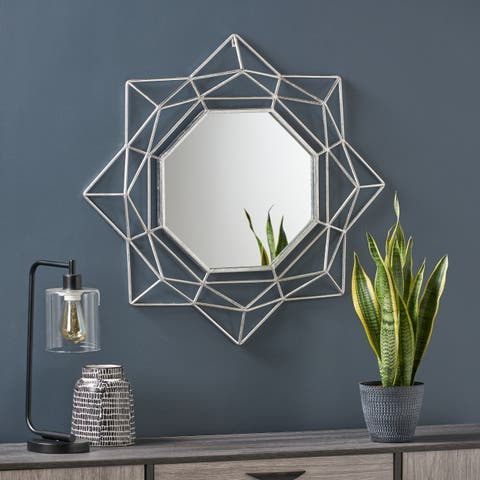 Blossom Industrial Metal Glam Wall Mirror with Circular Starburst Design by Christopher Knight Home - N/A