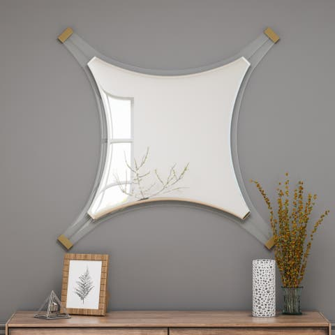 Bellevue Decorative Accent Mirror with Acrylic Trim and Accents by Christopher Knight Home - Mirror, Gold