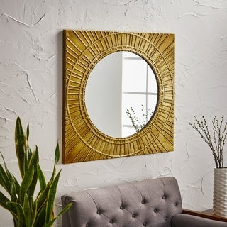 Garfield Modern Square Tempered Glass Metal Wall Mirror by Christopher Knight Home