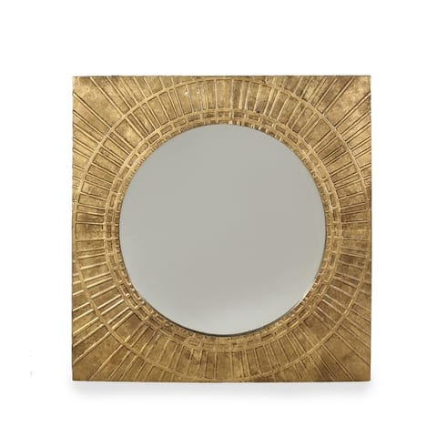 Garfield Modern Square Tempered Glass and Iron Metal Wall Mirror by Christopher Knight Home - N/A
