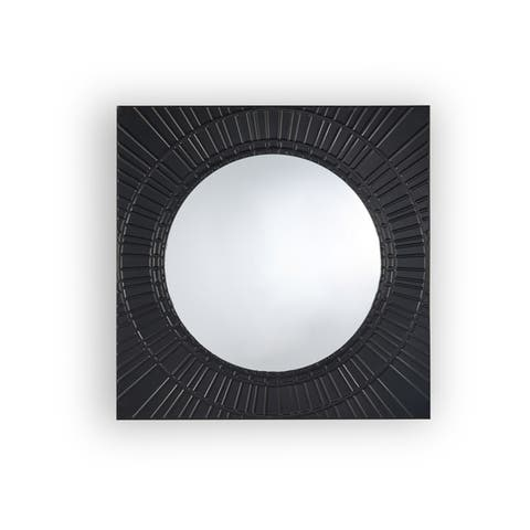 Garfield Modern Square Tempered Glass and Iron Metal Wall Mirror by Christopher Knight Home