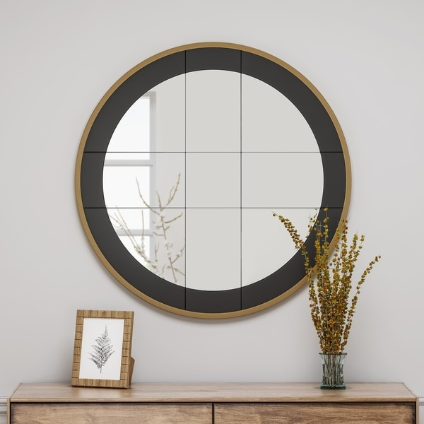Camassa Round Mirror with Stainless Steel Frame by Christopher Knight Home - Mirror, Gold, Black