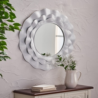 Bergstrom Modern Farmhouse Style Metal Mirror with Notched Trim by Christopher Knight Home