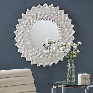 Abington Modern Decorative Sun Mirror with Faux Wood Frame by Christopher Knight Home