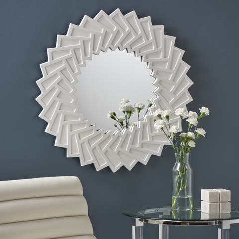 Abington Modern Decorative Sun Mirror with Faux Wood Frame by Christopher Knight Home - N/A