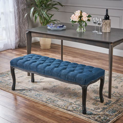 Roxana Tufted Diamond Dining Bench with Rubberwood Legs by Christopher Knight Home