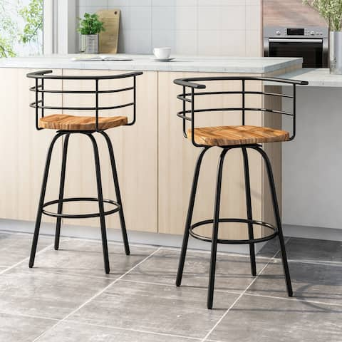 """Frothingham Industrial 29"""" Swivel Barstool with Rubberwood Seat (Set of 2) by Christopher Knight Home"""