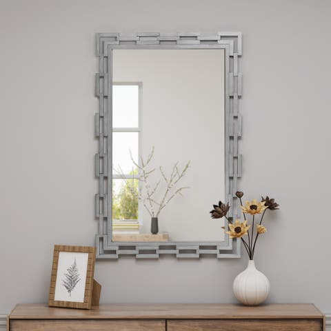 Fernside Industrial Rectangular Metal Chain-link Mirror with Tempered Glass and Iron by Christopher Knight Home - N/A