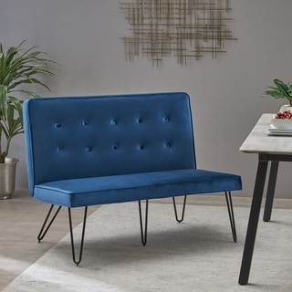 Chequeset Minimalist Dining Bench Settee with Tufted Velvet Cushion by Christopher Knight Home
