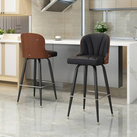 Candlewood Mid-Century Modern Barstool with 360-Swivel (Set of 2) by Christopher Knight Home