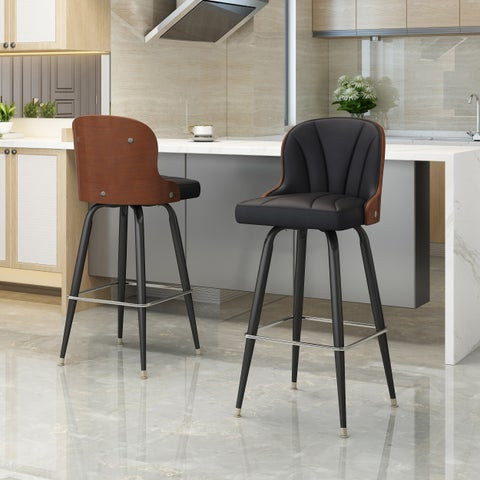Christopher Knight Home Candlewood Mid-century Adjustable-height 360-swivel Barstool (Set of 2)