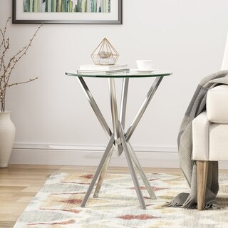 Christopher Knight Home DeMarco Modern Geometric Tempered Glass Accent Table