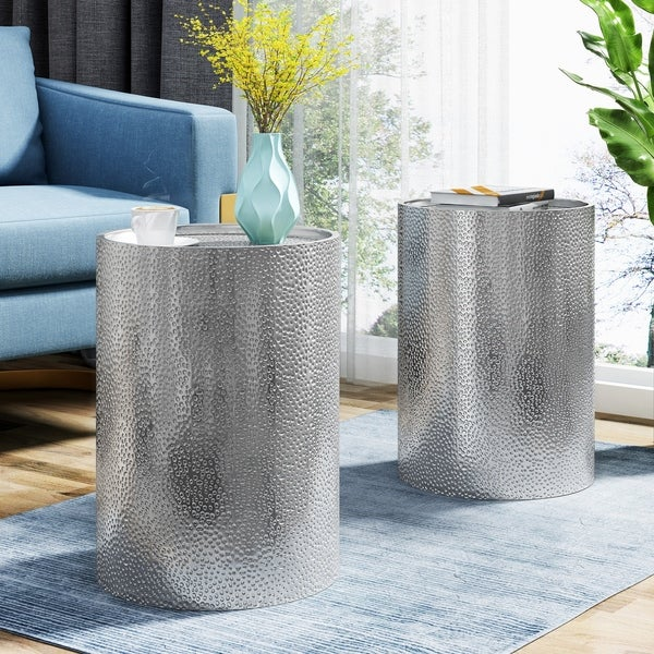Brookhaven Modern Round Hammered Accent Table (Set of 2) by Christopher Knight Home