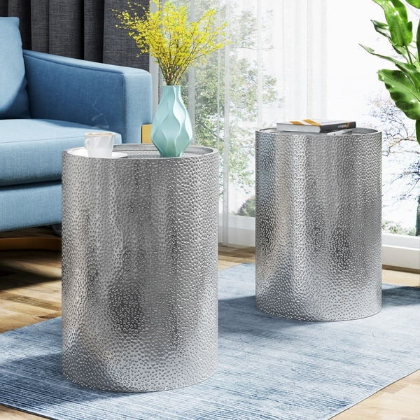 Brookhaven Modern Round Hammered Accent Table (Set of 2) by Christopher Knight Home. Opens flyout.