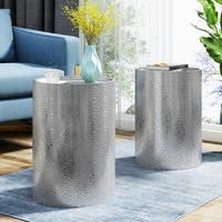 Christopher Knight Home Brookhaven Modern Round Hammered Iron Accent Table (Set of 2)