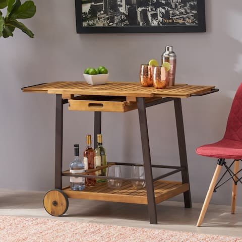 Spaulding Acacia Wood Extending Bar Cart w/ Bottle Holder by Christopher Knight Home