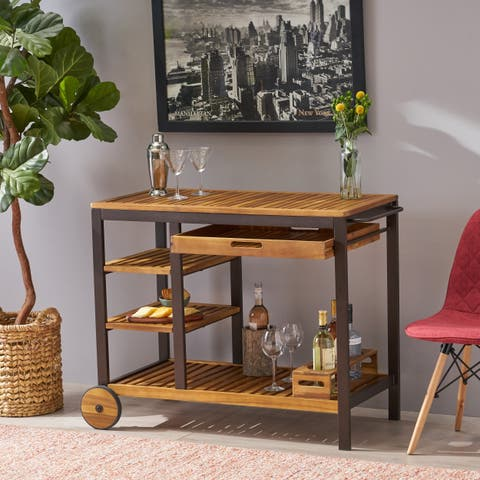 Admirals Indoor Wood Bar Cart with Drawers and Wine Bottle Holders by Christopher Knight Home - N/A
