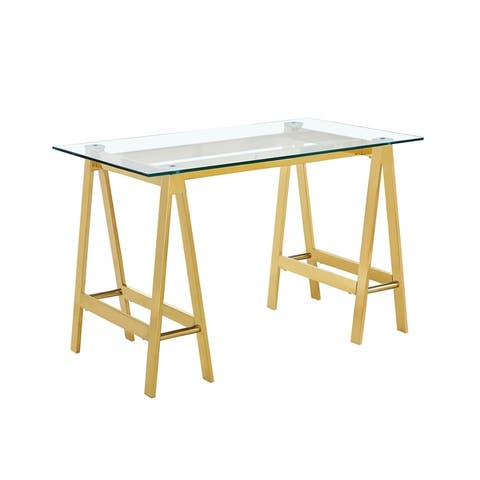 Englewood Glam Glass Top Desk with A-Frame Legs by Christopher Knight Home