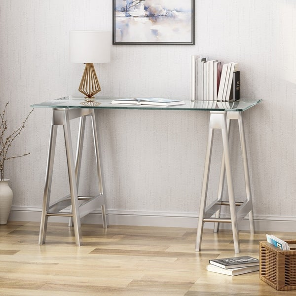 Christopher Knight Home Englewood Glam Mirror-finish Stainless Steel Desk with Tempered Glass Table Top and A-frame Legs