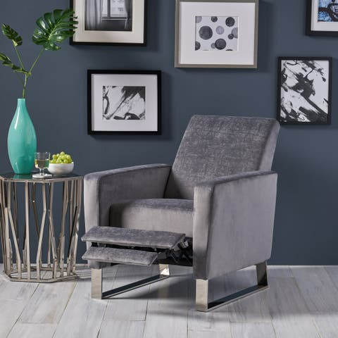 Christopher Knight Home Brightwood Modern Fabric Push Back High Leg Recliner with Stainless Steel Legs