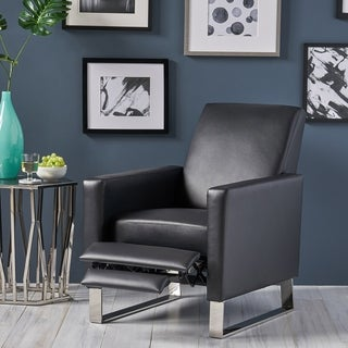 Brightwood Modern Faux Leather Push Back High Leg Recliner with Stainless Steel Legs by Christopher Knight Home