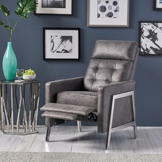 Christopher Knight Home Barnstable Modern Microfiber Buttonless-Tufted Push-Back Recliner with Stainless Steel Legs