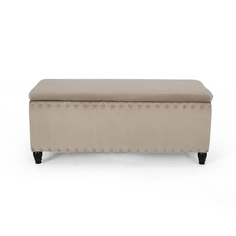 Brantwood Contemporary Velvet Lift-Top Storage Ottoman with Nailhead Trim by Christopher Knight Home
