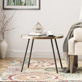 Jamesbury Minimalist Circular Side Table with Mirrored Top by Christopher Knight Home
