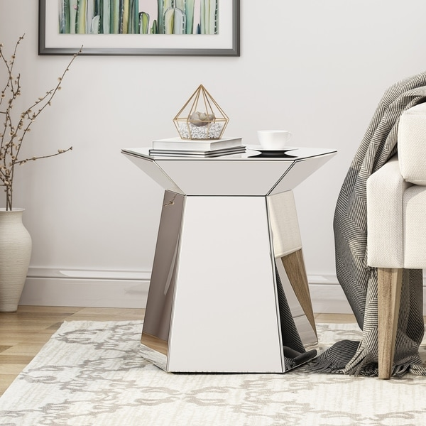 Castine Modern Pentagon Accent Table with Mirrored Finish by Christopher Knight Home. Opens flyout.