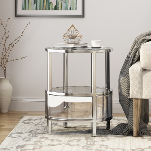 Christopher Knight Home Beeching Stainless Steel/Tempered Glass Round End Table by Christopher Knight Home