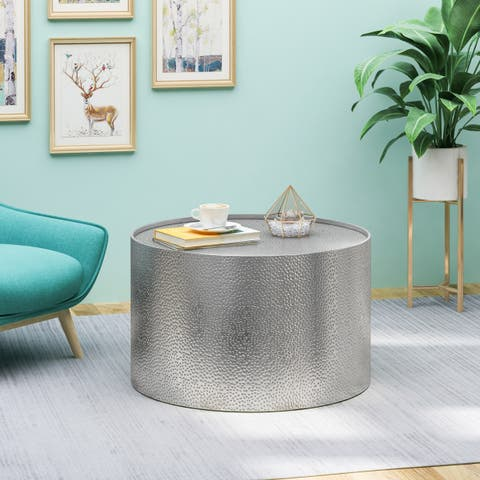 Christopher Knight Home Braeburn Modern Silvertone/Goldtone Hammered Iron Round Accent Table