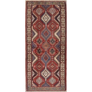 """Vintage Yalameh Geometric Handmade Wool Persian Rug - 6'3"""" x 2'10"""" Runner"""