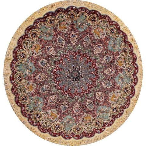 """Tabriz Floral Hand Made Wool & Silk Persian Area Rug - 7'1"""" x 7'1"""" Round"""