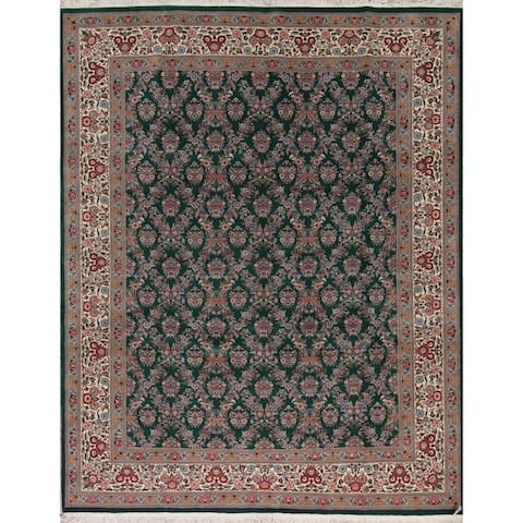 "Kashan Pakistan Floral & Botanical Handmade Wool Oriental Area Rug - 11'7"" x 9'2"""